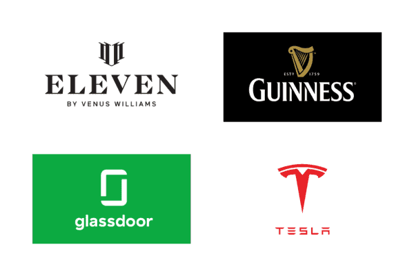 Logos with symbol on top