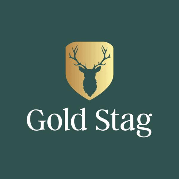 Dark green and gold logo