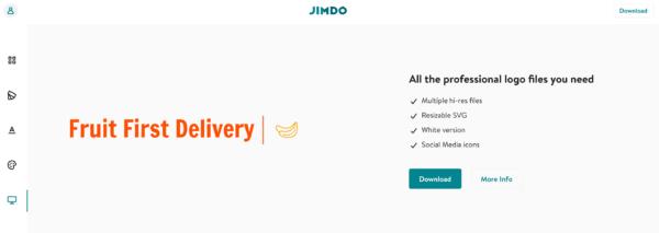 Jimdo free logo download screen